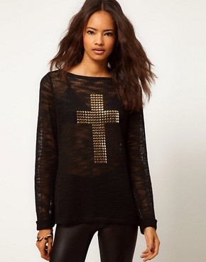 Image 1 ofASOS Jumper With Studded Cross Sign