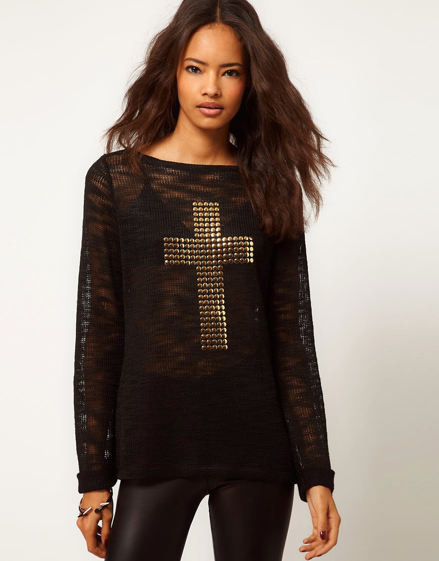Image 1 of ASOS Jumper With Studded Cross Sign