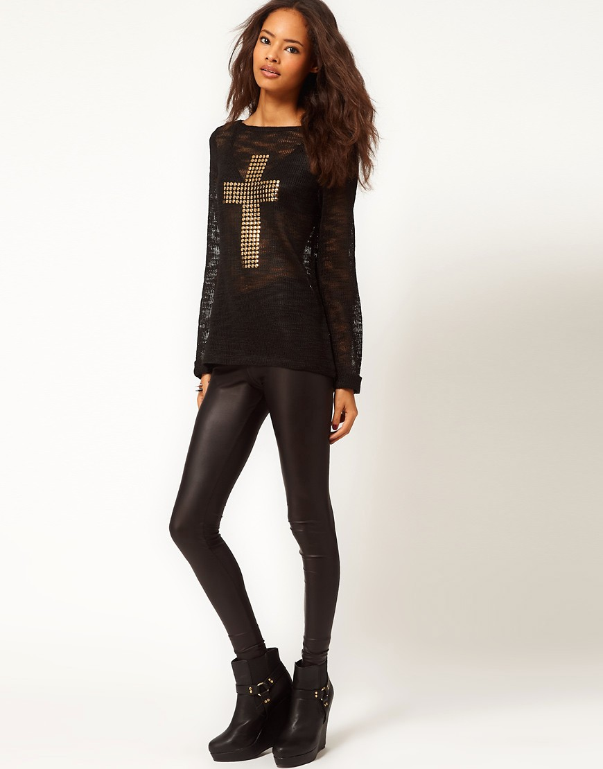 Image 4 of ASOS Jumper With Studded Cross Sign