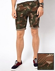 ASOS Denim Shorts With Camo Print