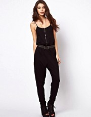 ASOS Zip Front Onesie With Strap Detail