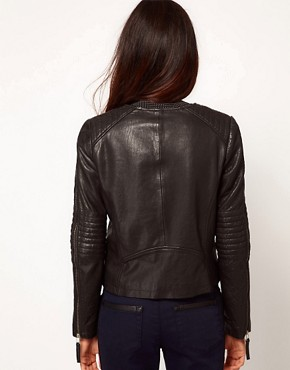 Image 2 ofWhistles Molly Bubble Leather Jacket