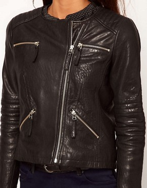 Image 3 ofWhistles Molly Bubble Leather Jacket