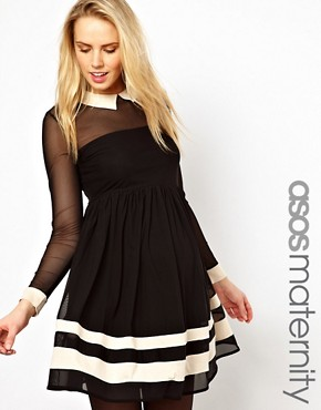 Image 1 of ASOS Maternity Skater Dress With Contrast Detail