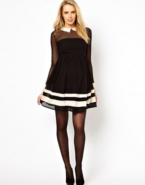 Image 4 of ASOS Maternity Skater Dress With Contrast Detail