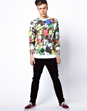 Image 4 ofASOS Sweatshirt With All Over Mickey Print