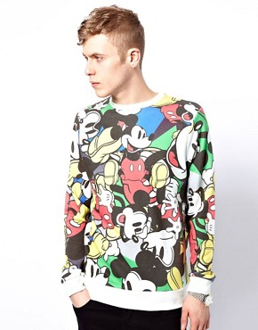 Image 1 ofASOS Sweatshirt With All Over Mickey Print