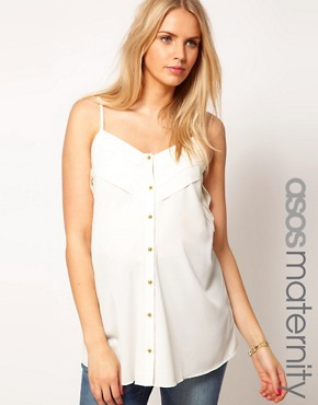 Image 1 ofASOS Maternity Cami With Layers And Button Front