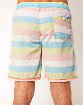 Image 2 ofRiver Island Bold Stripe Pastel Swimshort