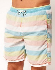 River Island  Badeshorts mit breiten, pastellfarbenen Streifen