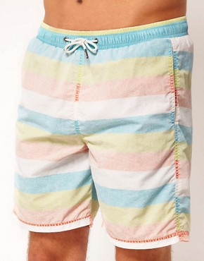 Image 1 ofRiver Island Bold Stripe Pastel Swimshort
