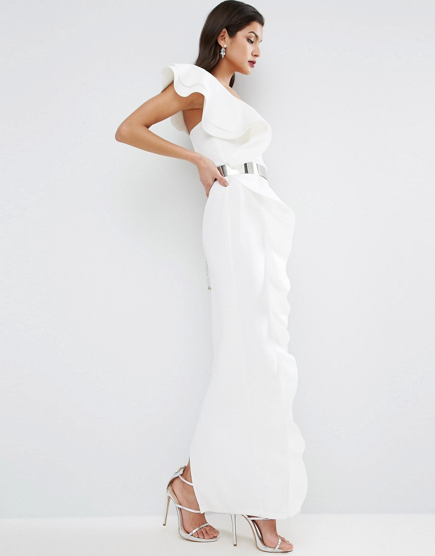 ASOS RED CARPET Ruffle Maxi Dress With Metal Belt