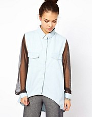 Pippa Lynn Chambray Shirt With Mesh Sleeves