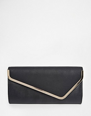River Island Black Asymmetric Bar Clutch
