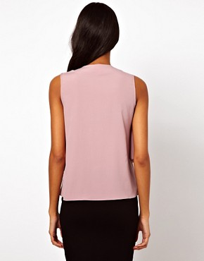 Image 2 ofASOS Sleeveless Blouse With Drop Pussybow And Ruffle