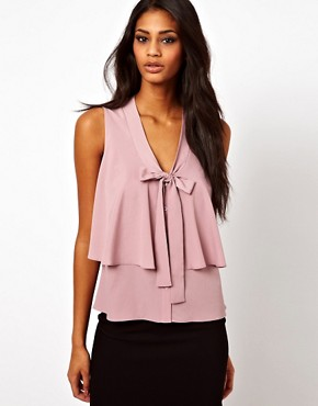 Image 1 ofASOS Sleeveless Blouse With Drop Pussybow And Ruffle