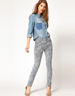 Image 4 ofCurrent/Elliott  High Waist Floral Skinny Jeans