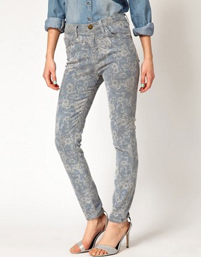 Image 1 ofCurrent/Elliott  High Waist Floral Skinny Jeans