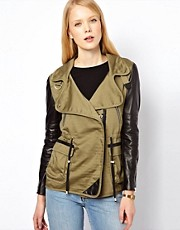 Whistles Cara Leather Sleeves Canvas Jacket