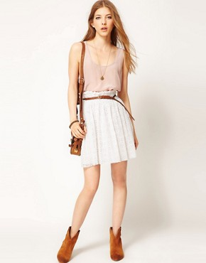 Image 1 ofZadig and Voltaire Broderie Skirt with Raw Edge Detail