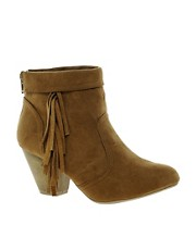New Look Fringey Western Heeled Tan Ankle Boots