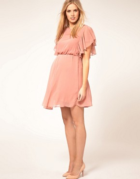 Image 4 ofASOS Maternity Exclusive Dress With Ruffle Sleeve