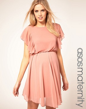 Image 1 ofASOS Maternity Exclusive Dress With Ruffle Sleeve