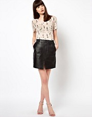 Selected Frejsa High Waisted Leather Skirt