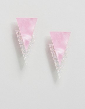 Suzywan Pearled Pink & Holographic White Earrings