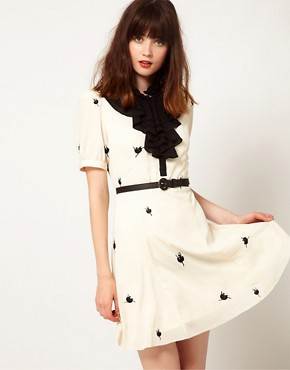 Image 1 ofNishe Ballerina Embroidered Ruffle Dress