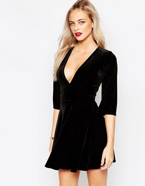 Boohoo Velvet Plunge Neck Skater Dress