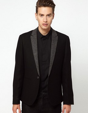 Image 1 ofASOS Slim Fit Blazer With Herringbone Lapel