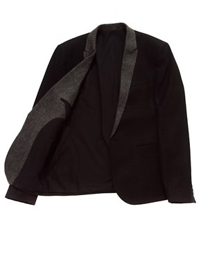Image 3 ofASOS Slim Fit Blazer With Herringbone Lapel