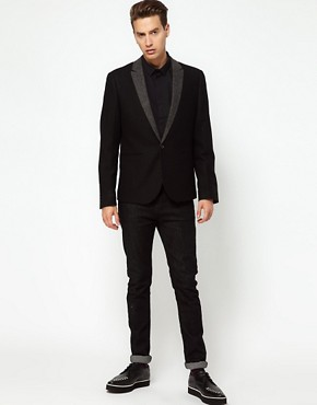 Image 4 ofASOS Slim Fit Blazer With Herringbone Lapel