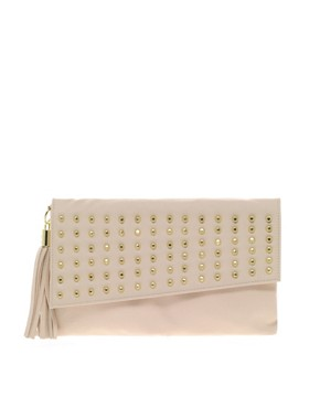 Image 1 ofASOS Stud Foldover Tassel Clutch Bag