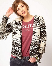 Maison Scotch Ikat Jacket with Fringing