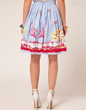 Image 2 ofASOS Full Skirt in Flamingo Print