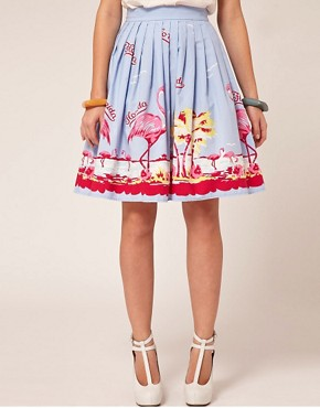 Image 4 ofASOS Full Skirt in Flamingo Print