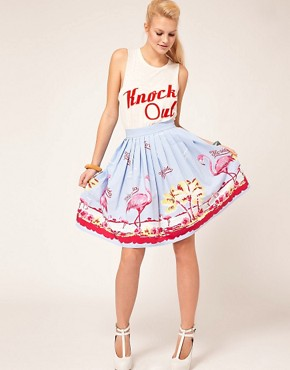 Image 1 ofASOS Full Skirt in Flamingo Print