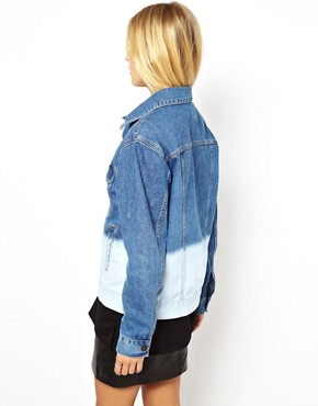 Image 2 ofASOS Denim Jacket in Oversize Boyfriend Fit in Bleach Dip Dye