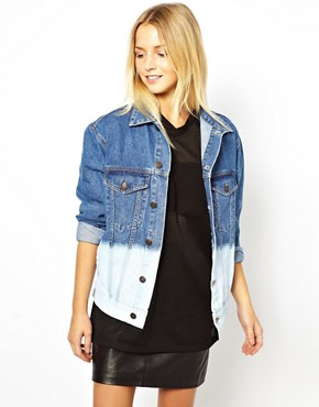 Image 1 ofASOS Denim Jacket in Oversize Boyfriend Fit in Bleach Dip Dye