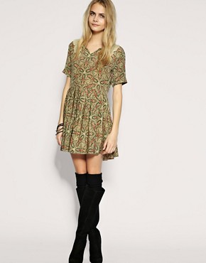 Image 4 ofTBA Exclusive to ASOS Silk Paisley Collar Dress