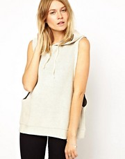 ASOS Sleeveless Sweatshirt with Hood in Heavy Fabric