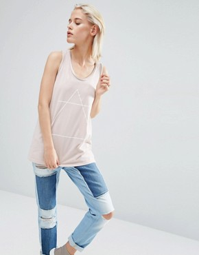 ASOS Vest With Optic Tattoo Print And Drop Armhole In Wash