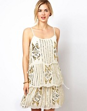 Frock and Frill 3 Tiered Shift Dress in All Over Embellishment