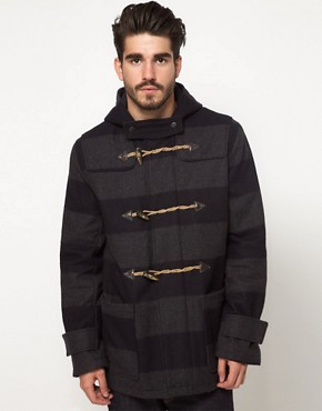 Image 1 of ASOS Stripe Duffle Coat