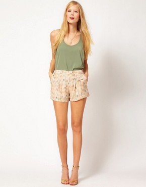 Image 1 ofLa Fee Verte Silk Pleated Aztec Shorts