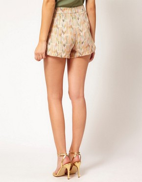 Image 2 ofLa Fee Verte Silk Pleated Aztec Shorts