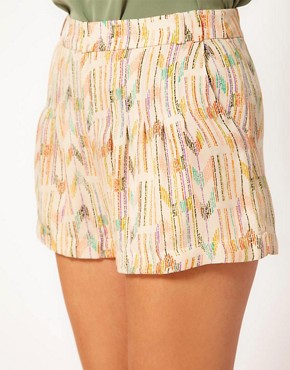 Image 3 ofLa Fee Verte Silk Pleated Aztec Shorts