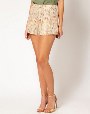 Image 4 ofLa Fee Verte Silk Pleated Aztec Shorts